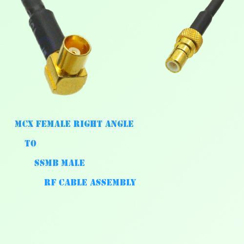 MCX Female Right Angle to SSMB Male RF Cable Assembly