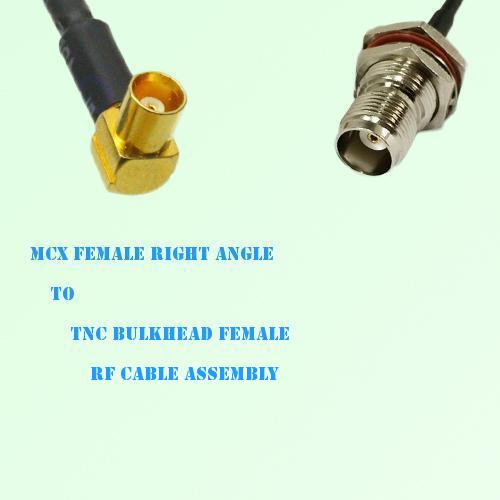 MCX Female Right Angle to TNC Bulkhead Female RF Cable Assembly