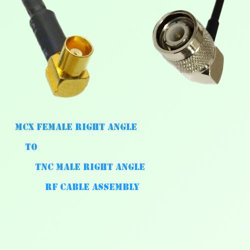 MCX Female Right Angle to TNC Male Right Angle RF Cable Assembly