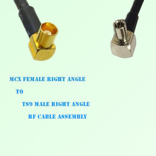 MCX Female Right Angle to TS9 Male Right Angle RF Cable Assembly