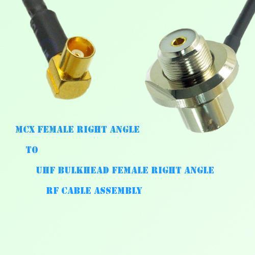 MCX Female R/A to UHF Bulkhead Female R/A RF Cable Assembly
