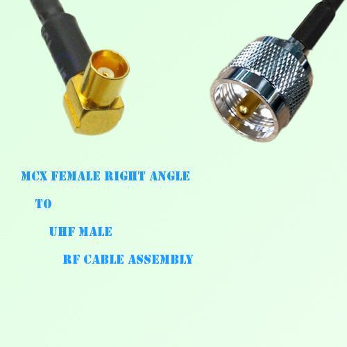 MCX Female Right Angle to UHF Male RF Cable Assembly