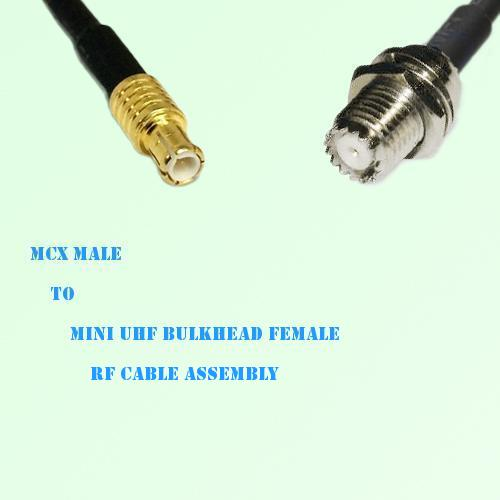MCX Male to Mini UHF Bulkhead Female RF Cable Assembly
