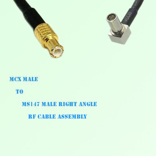 MCX Male to MS147 Male Right Angle RF Cable Assembly