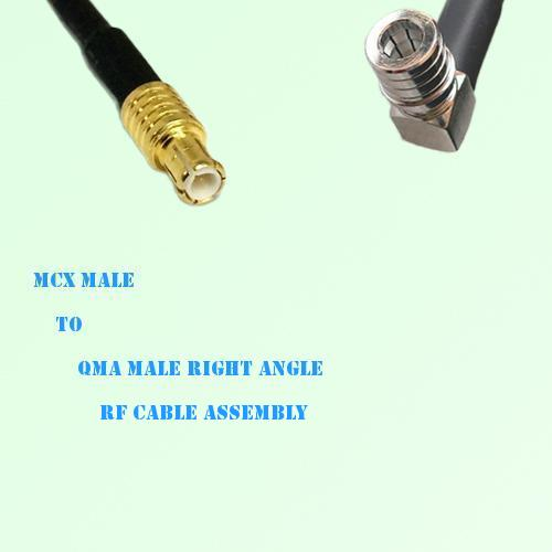 MCX Male to QMA Male Right Angle RF Cable Assembly