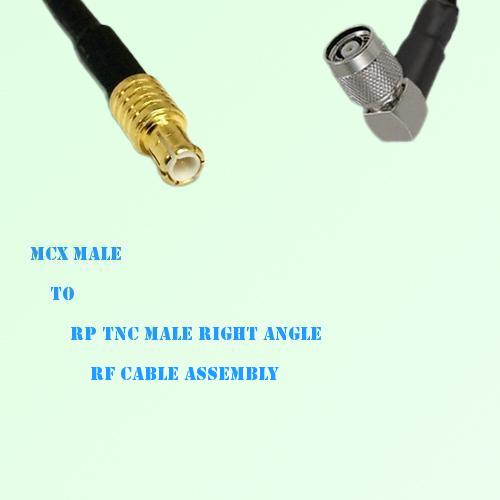 MCX Male to RP TNC Male Right Angle RF Cable Assembly