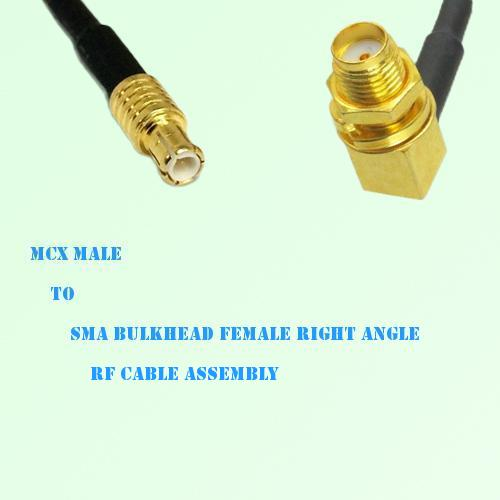 MCX Male to SMA Bulkhead Female Right Angle RF Cable Assembly
