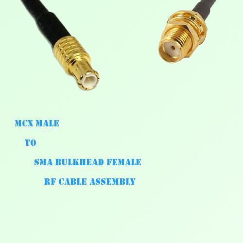 MCX Male to SMA Bulkhead Female RF Cable Assembly