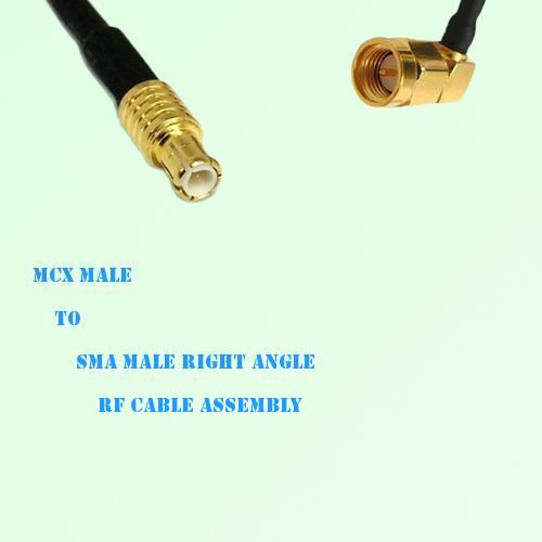 MCX Male to SMA Male Right Angle RF Cable Assembly