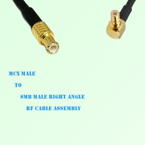 MCX Male to SMB Male Right Angle RF Cable Assembly