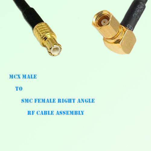 MCX Male to SMC Female Right Angle RF Cable Assembly