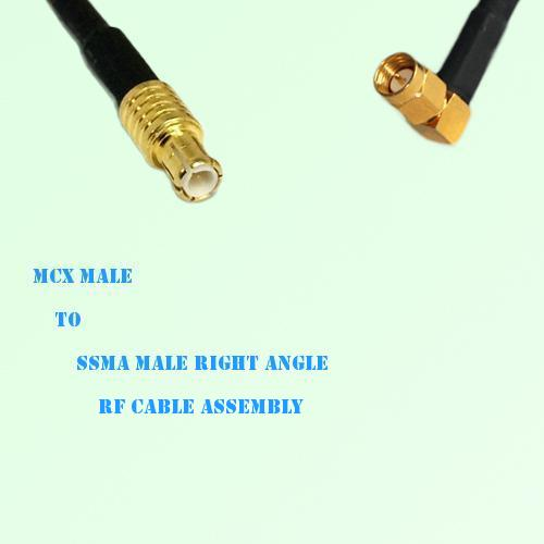 MCX Male to SSMA Male Right Angle RF Cable Assembly