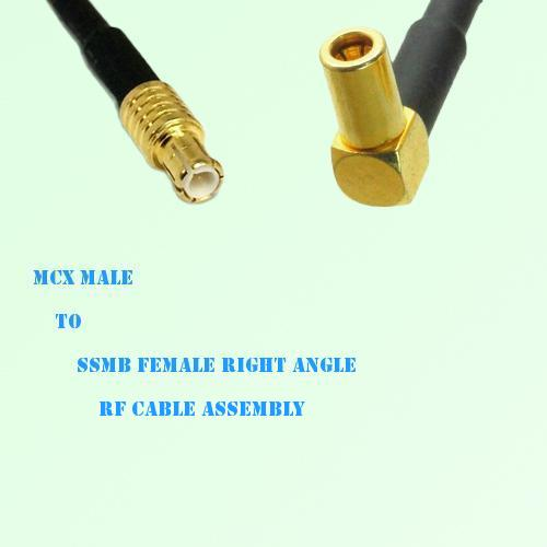 MCX Male to SSMB Female Right Angle RF Cable Assembly