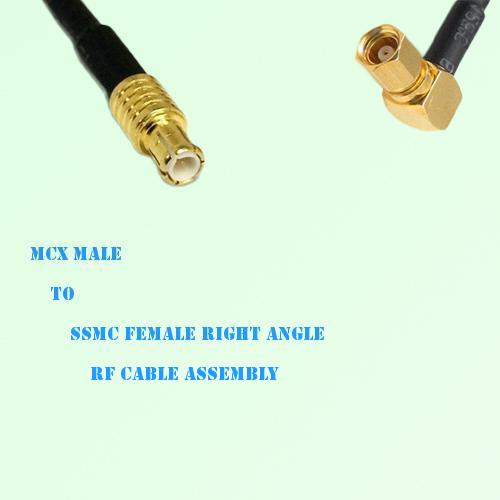 MCX Male to SSMC Female Right Angle RF Cable Assembly