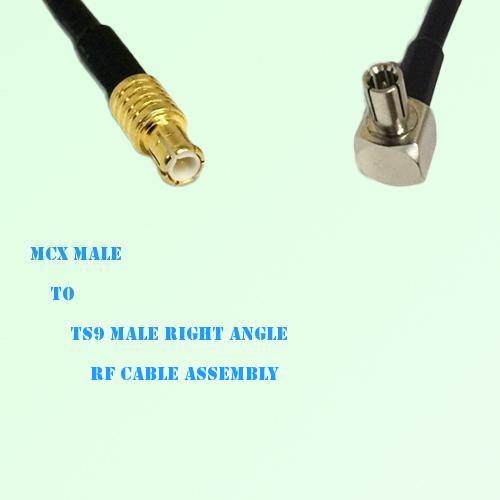 MCX Male to TS9 Male Right Angle RF Cable Assembly