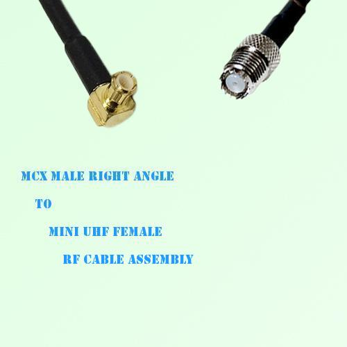 MCX Male Right Angle to Mini UHF Female RF Cable Assembly