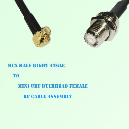 MCX Male Right Angle to Mini UHF Bulkhead Female RF Cable Assembly