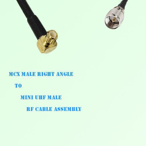 MCX Male Right Angle to Mini UHF Male RF Cable Assembly