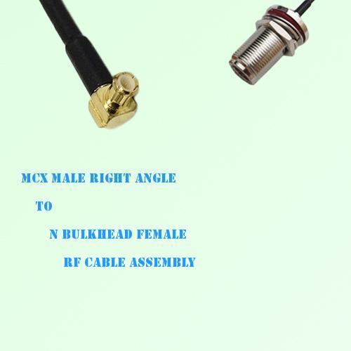 MCX Male Right Angle to N Bulkhead Female RF Cable Assembly