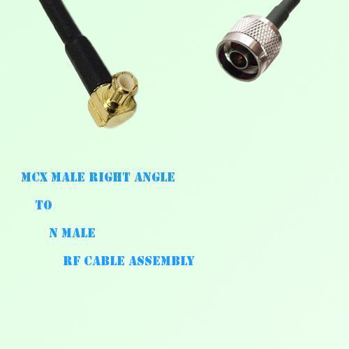 MCX Male Right Angle to N Male RF Cable Assembly