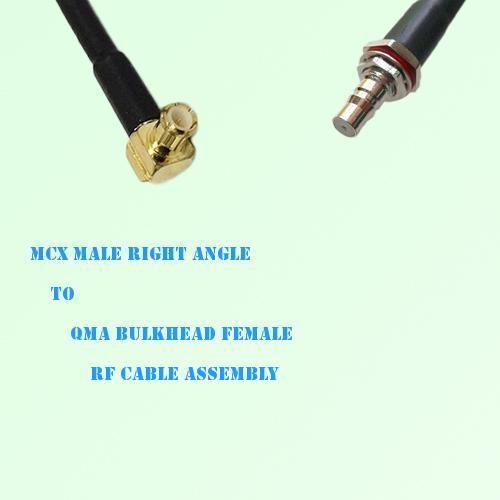 MCX Male Right Angle to QMA Bulkhead Female RF Cable Assembly