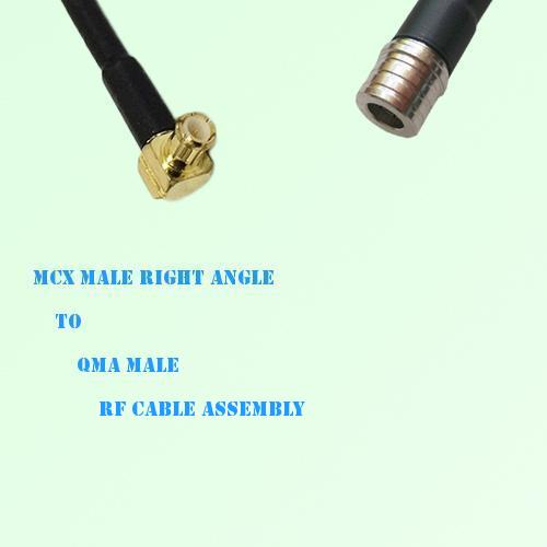 MCX Male Right Angle to QMA Male RF Cable Assembly