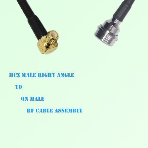 MCX Male Right Angle to QN Male RF Cable Assembly