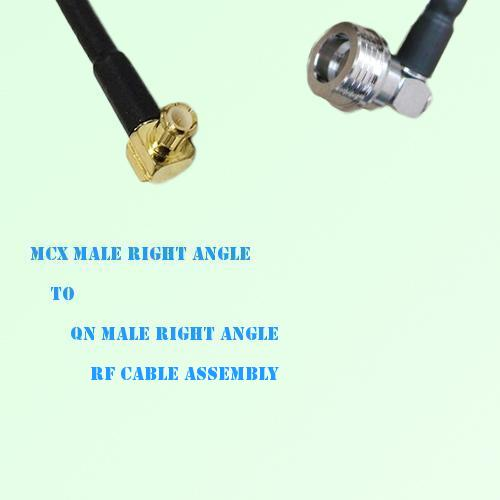 MCX Male Right Angle to QN Male Right Angle RF Cable Assembly