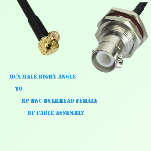 MCX Male Right Angle to RP BNC Bulkhead Female RF Cable Assembly