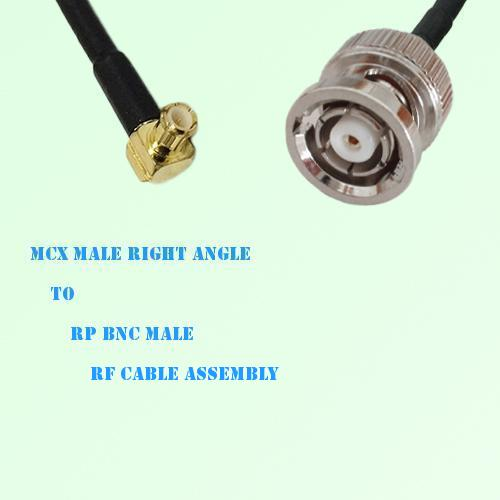 MCX Male Right Angle to RP BNC Male RF Cable Assembly