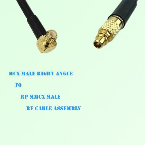 MCX Male Right Angle to RP MMCX Male RF Cable Assembly