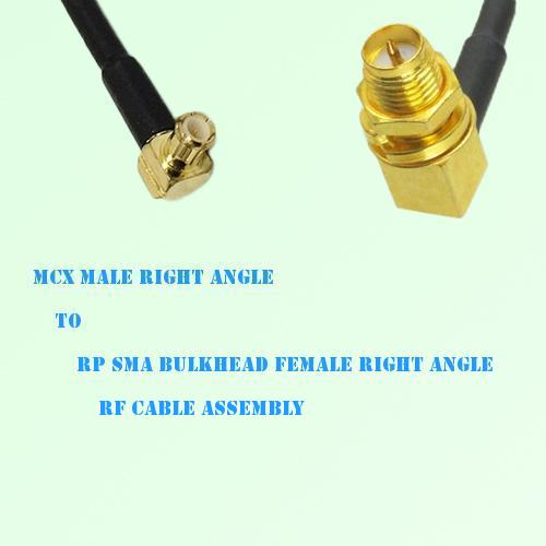 MCX Male R/A to RP SMA Bulkhead Female R/A RF Cable Assembly