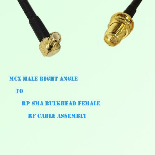 MCX Male Right Angle to RP SMA Bulkhead Female RF Cable Assembly
