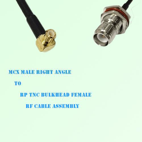 MCX Male Right Angle to RP TNC Bulkhead Female RF Cable Assembly