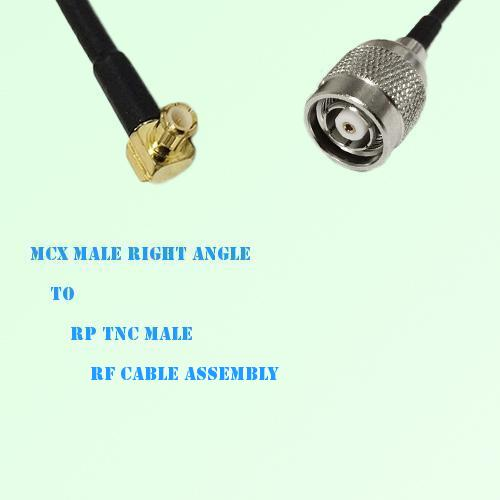 MCX Male Right Angle to RP TNC Male RF Cable Assembly