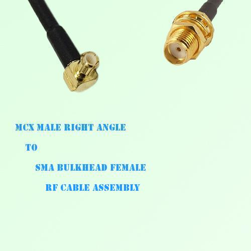 MCX Male Right Angle to SMA Bulkhead Female RF Cable Assembly