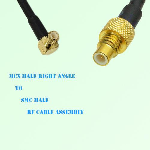 MCX Male Right Angle to SMC Male RF Cable Assembly