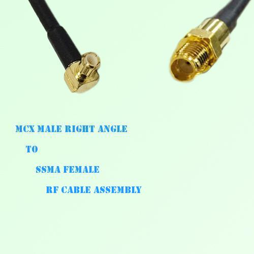 MCX Male Right Angle to SSMA Female RF Cable Assembly