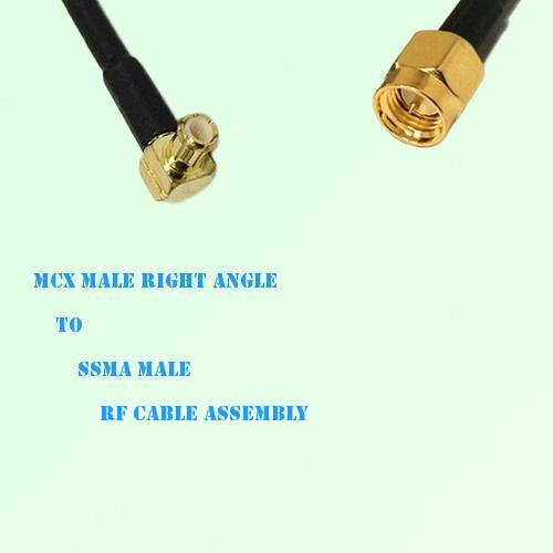 MCX Male Right Angle to SSMA Male RF Cable Assembly