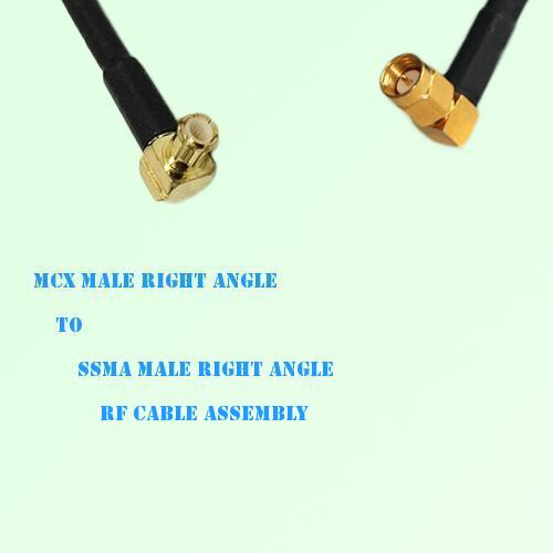 MCX Male Right Angle to SSMA Male Right Angle RF Cable Assembly