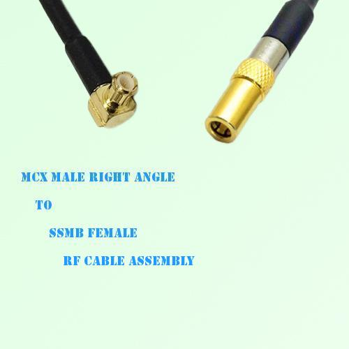 MCX Male Right Angle to SSMB Female RF Cable Assembly