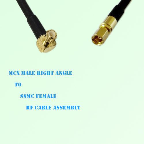 MCX Male Right Angle to SSMC Female RF Cable Assembly