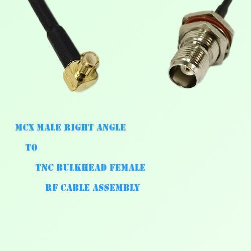 MCX Male Right Angle to TNC Bulkhead Female RF Cable Assembly