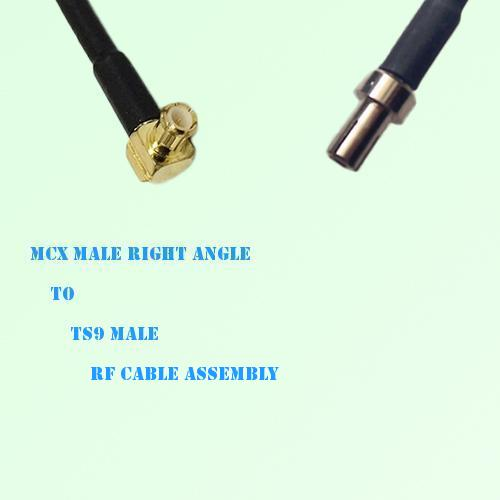 MCX Male Right Angle to TS9 Male RF Cable Assembly