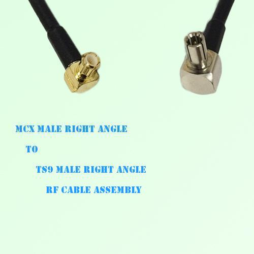 MCX Male Right Angle to TS9 Male Right Angle RF Cable Assembly