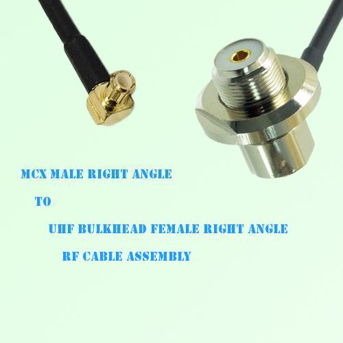 MCX Male R/A to UHF Bulkhead Female R/A RF Cable Assembly