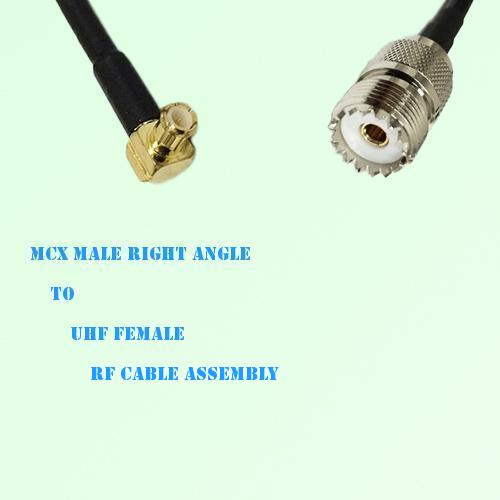 MCX Male Right Angle to UHF Female RF Cable Assembly