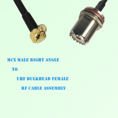 MCX Male Right Angle to UHF Bulkhead Female RF Cable Assembly