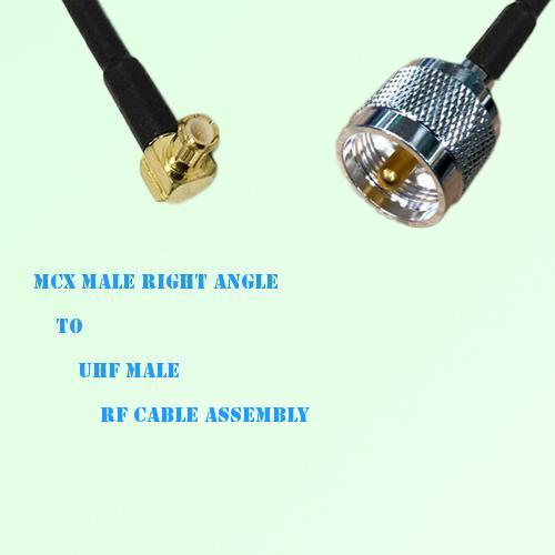 MCX Male Right Angle to UHF Male RF Cable Assembly