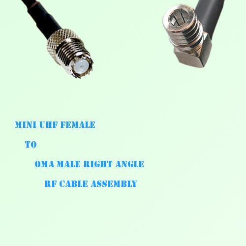 Mini UHF Female to QMA Male Right Angle RF Cable Assembly